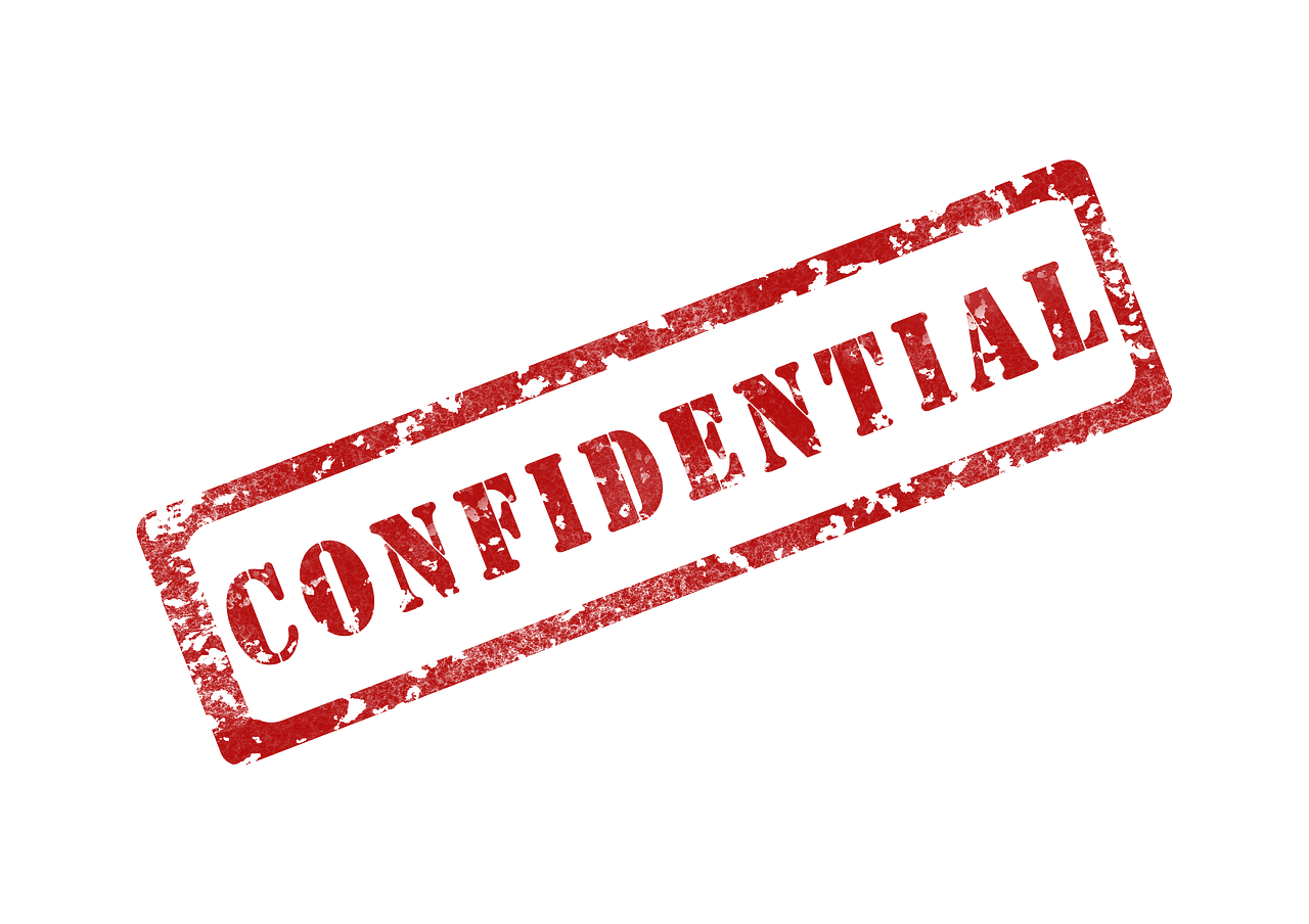 "A sign ""confidential"""