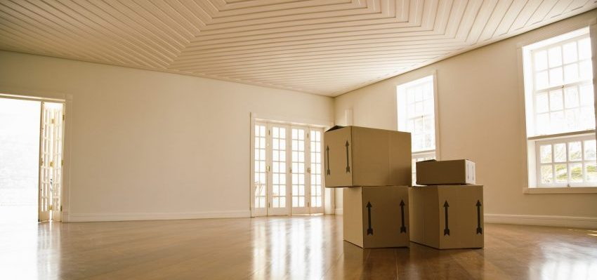 Empty home, with just a few moving boxes.