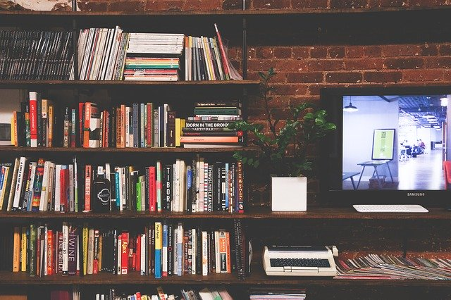 Tv set with some books