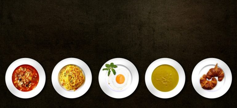 Plates with different food