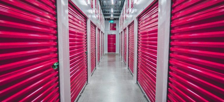 row of red colored storage gates