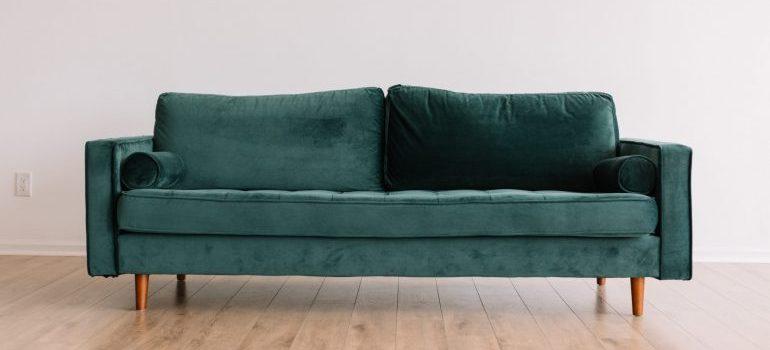 green sofa on a wooden floor