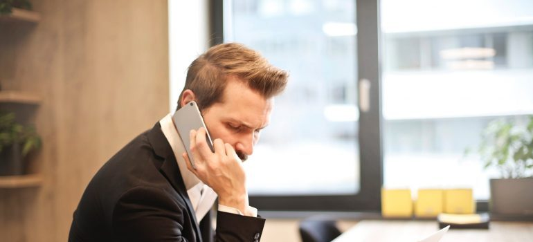 A man talking on the phone