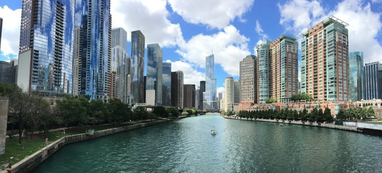 Beautiful buildings and river in Chicago