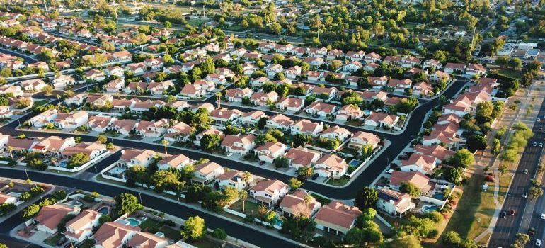 aerial photo of a suburb in the summertime
