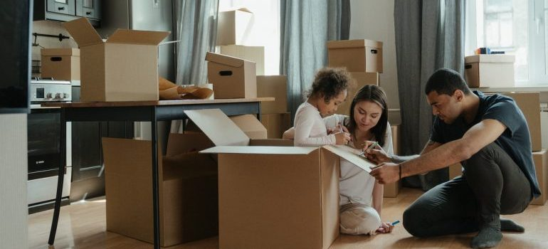 A family preparing for the move