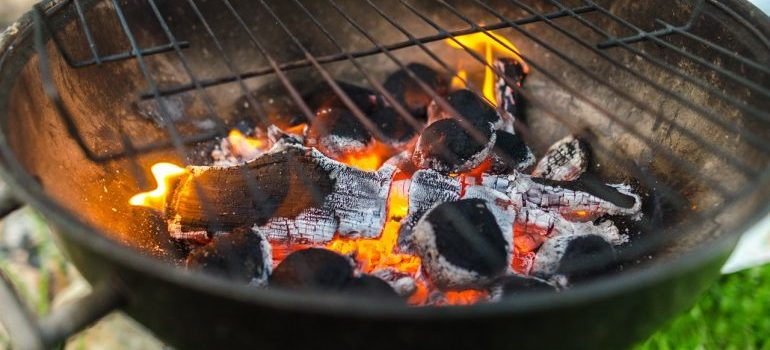 Charcoal in a grill.