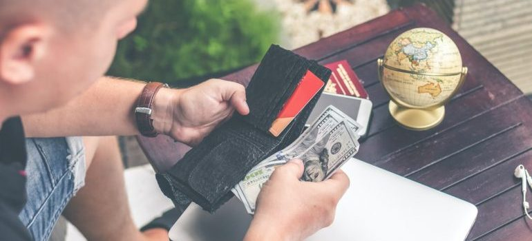 A man preparing his money