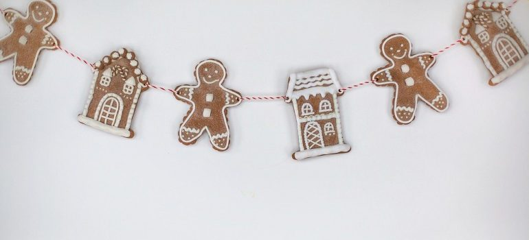 gingerbread men decorated on the wall