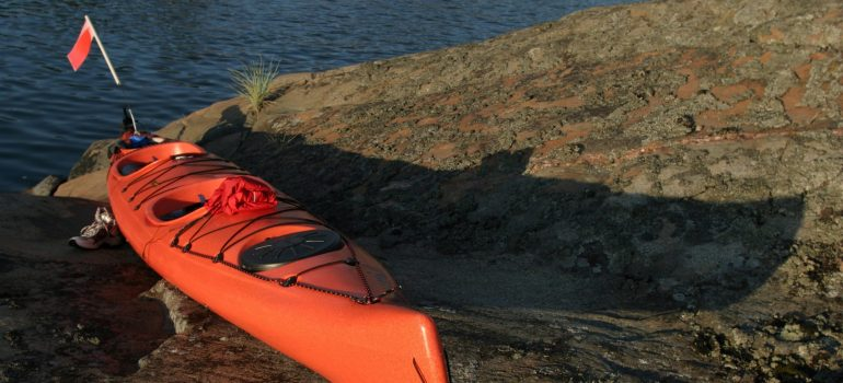 a kayak on the shoreline