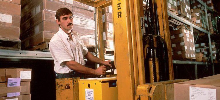 A forklift driver