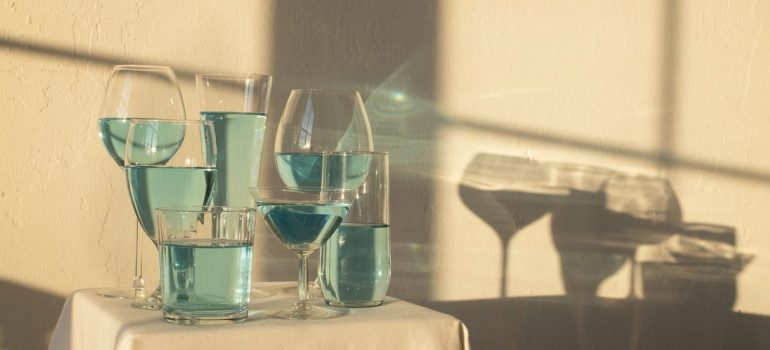 a variety of glasses on a table