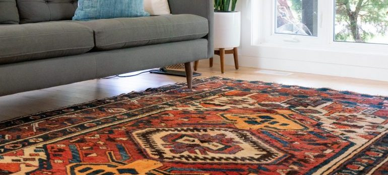 colorful carpet in a bright living room