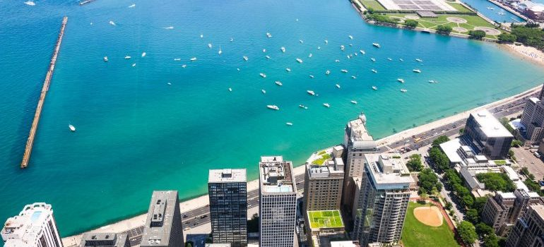 view of Michigan lake in Chicago