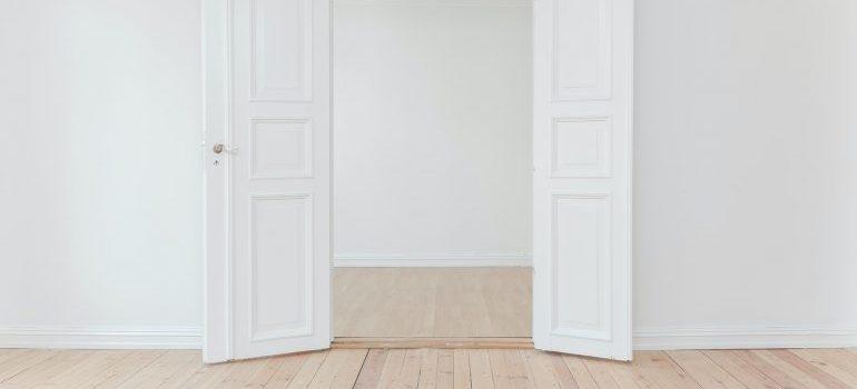 empty room with open doors