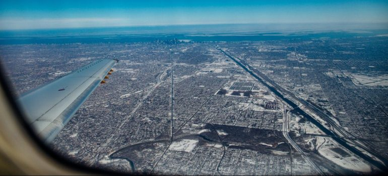 an aerial view of the city of Chicago
