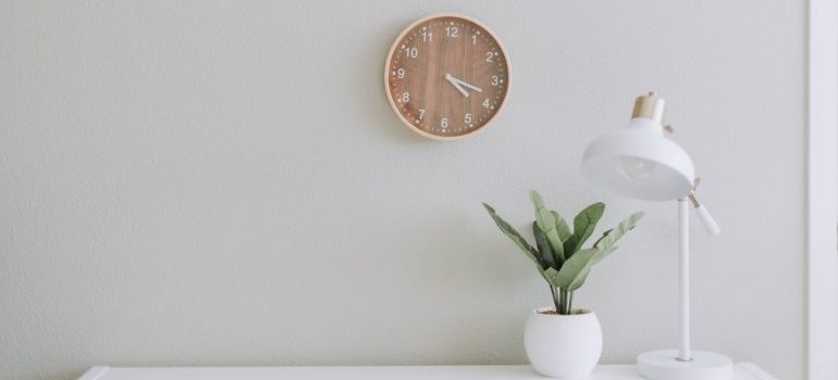 A clock on the office wall